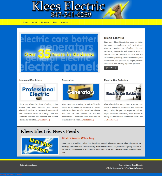 Klees Electric Website by Web Base Solutions