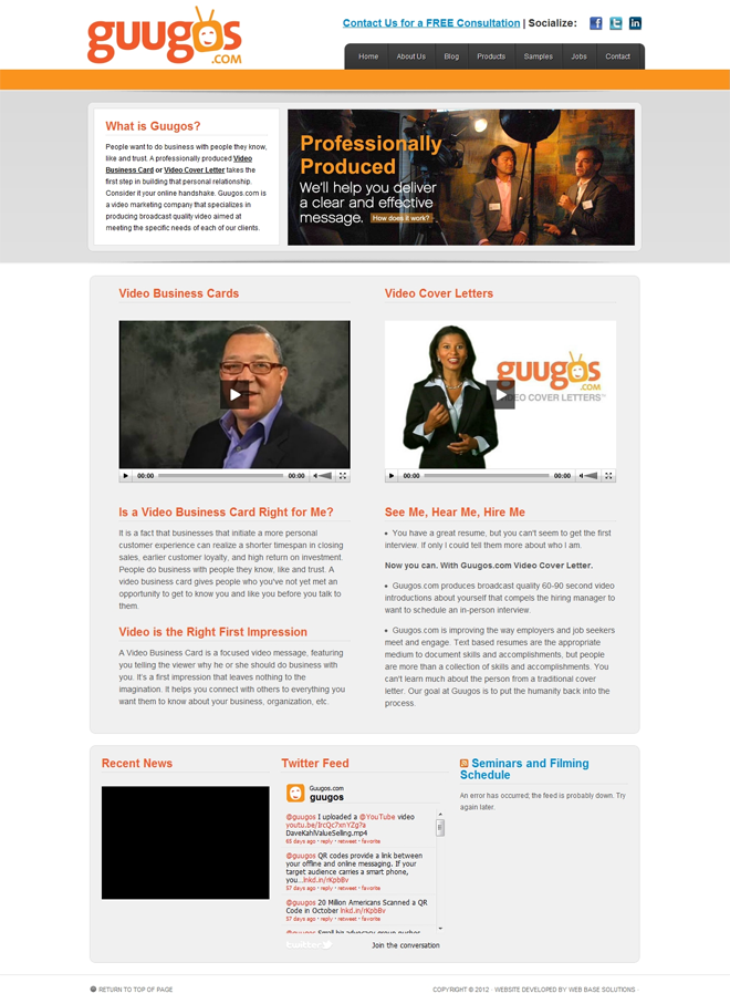 Guugos website developed by Web Base Solutions